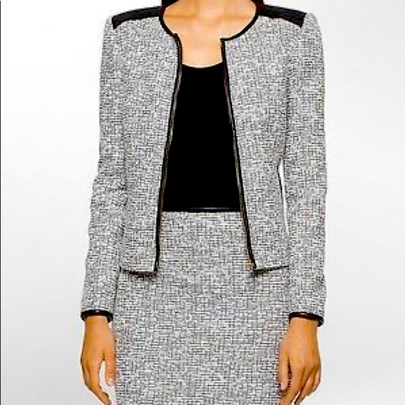 Calvin Klein Tweed Suit with leather piping